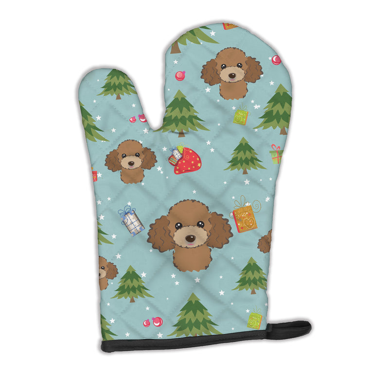 Buy this Christmas Chocolate Brown Poodle Oven Mitt BB5045OVMT
