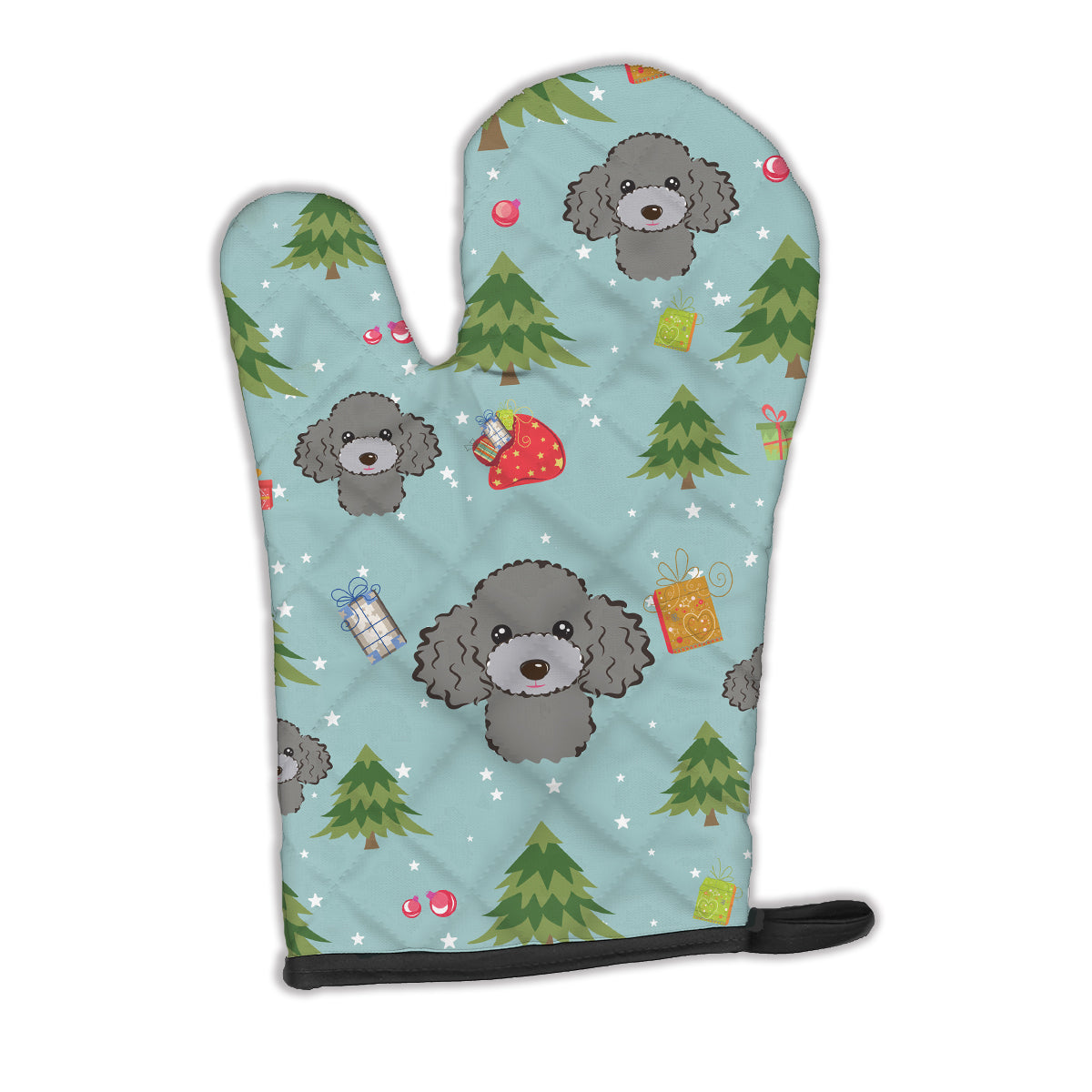 Buy this Christmas Silver Gray Poodle Oven Mitt BB5048OVMT