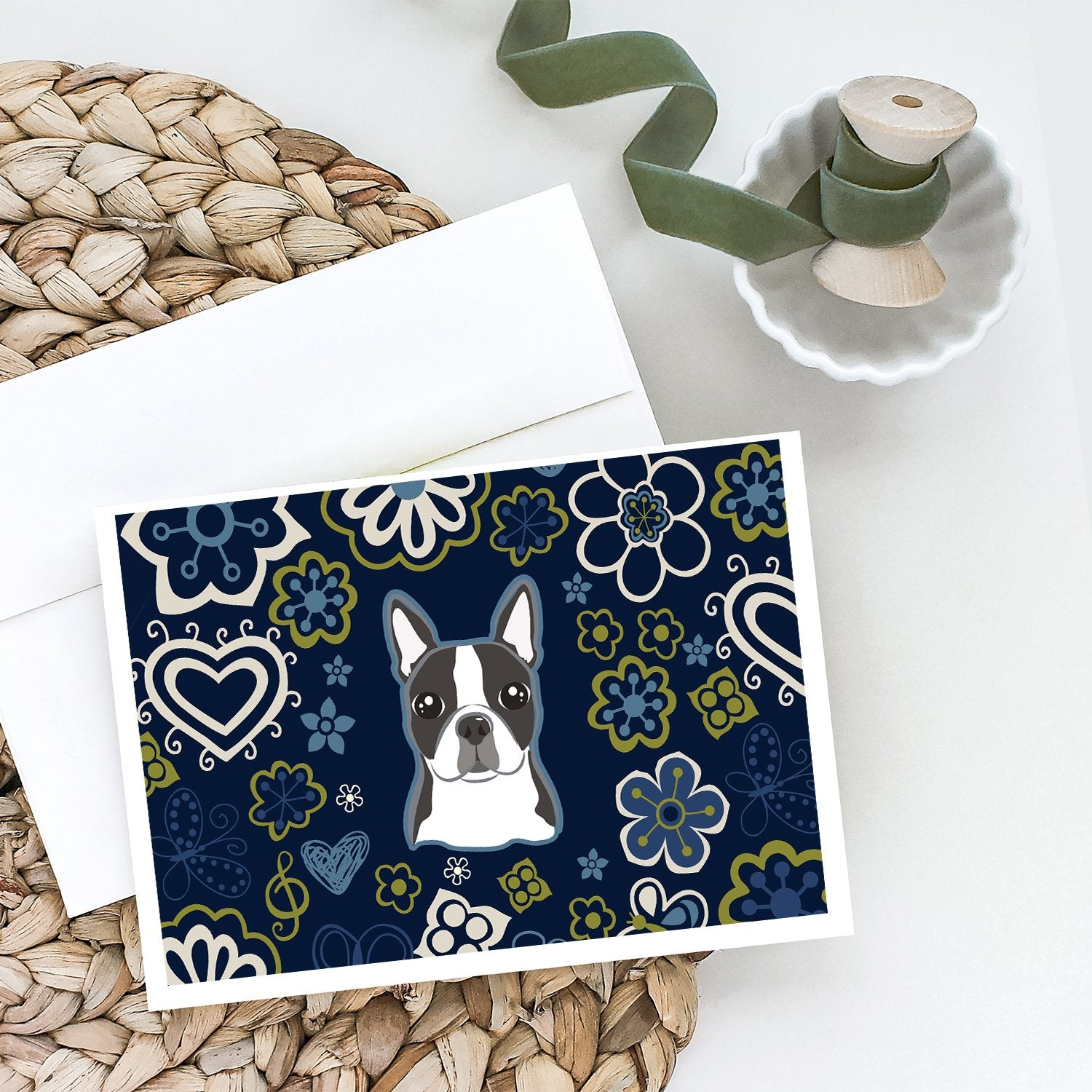 Buy this Blue Flowers Boston Terrier Greeting Cards and Envelopes Pack of 8