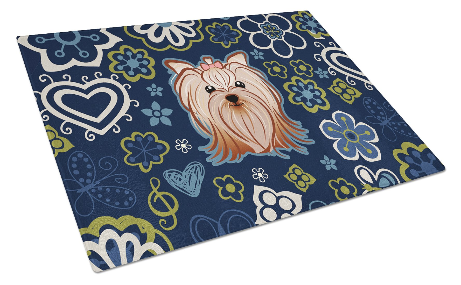 Blue Flowers Yorkie Yorkishire Terrier Glass Cutting Board Large BB5055LCB by Caroline's Treasures