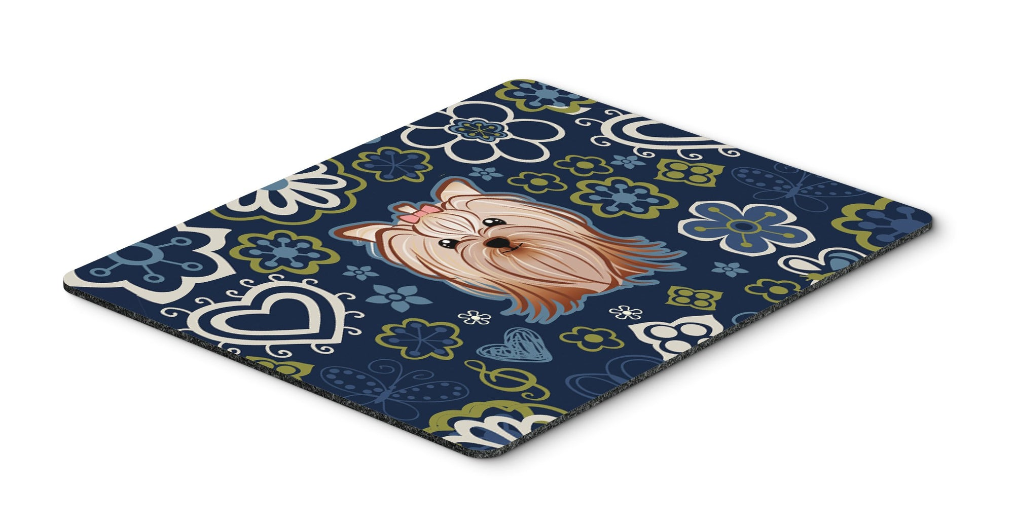 "Buy this ""Blue Flowers Yorkie Yorkishire Terrier Mouse Pad, Hot Pad or Trivet"""
