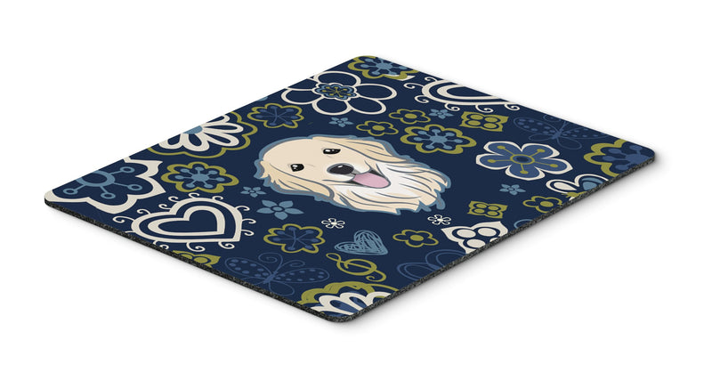 "Buy this ""Blue Flowers Golden Retriever Mouse Pad, Hot Pad or Trivet"""