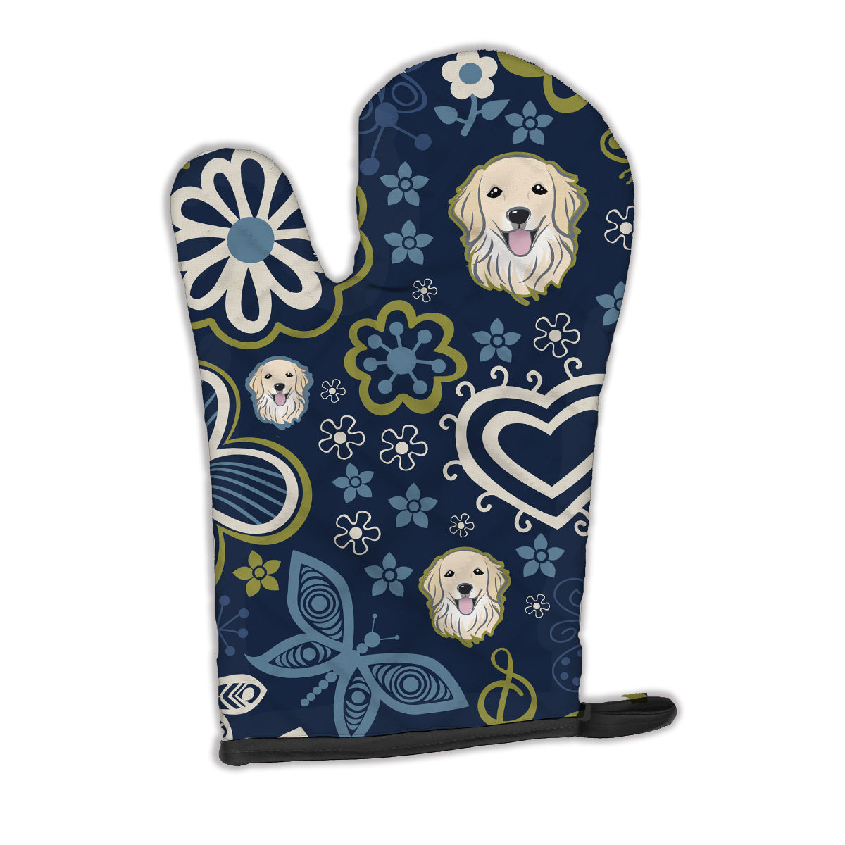 Buy this Blue Flowers Golden Retriever Oven Mitt BB5056OVMT