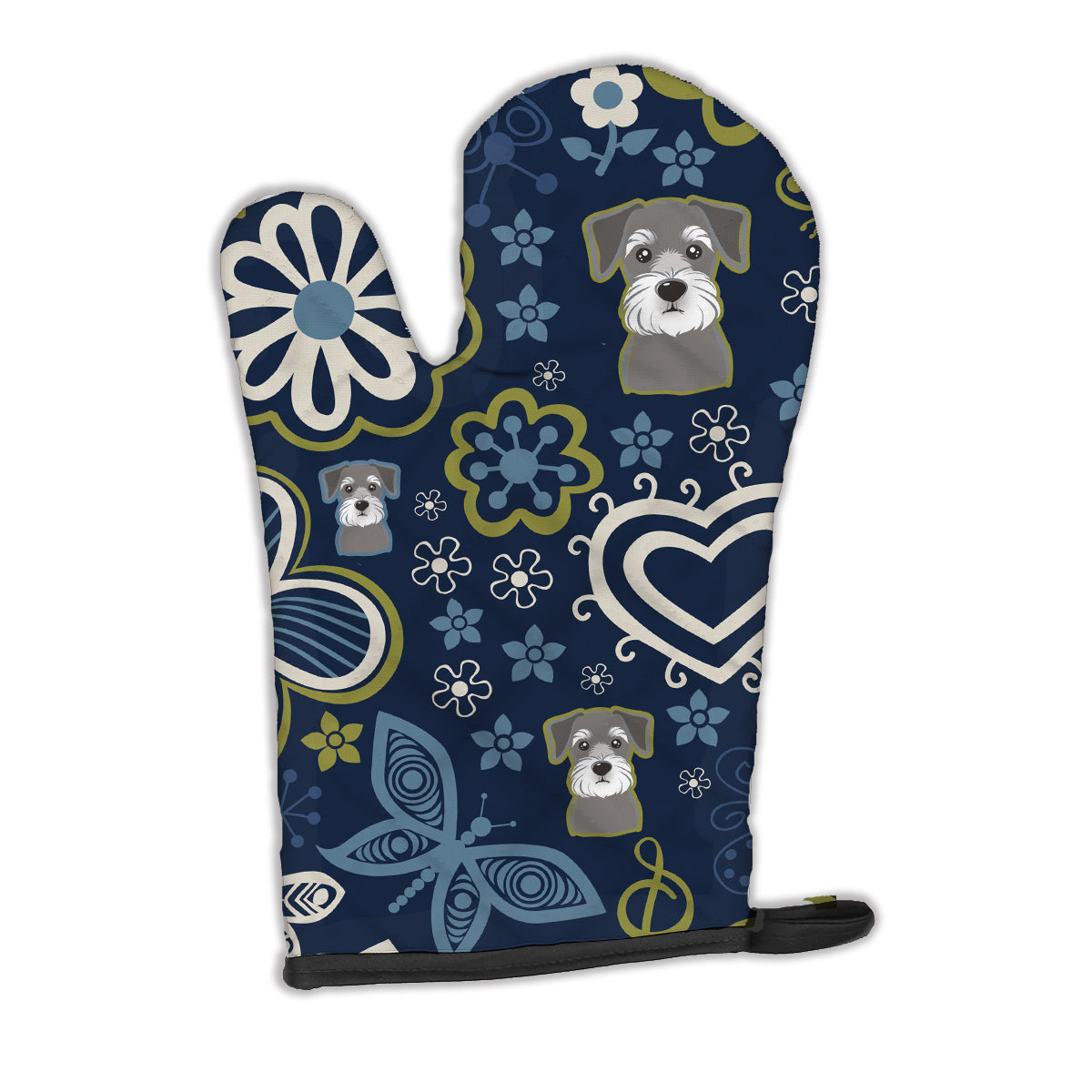 Buy this Blue Flowers Schnauzer Oven Mitt BB5057OVMT