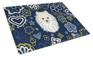 Buy this Blue Flowers Pomeranian Glass Cutting Board Large BB5058LCB