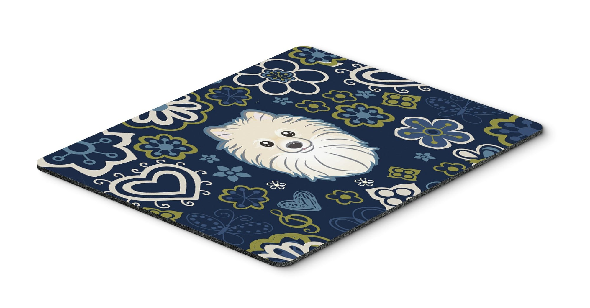 "Buy this ""Blue Flowers Pomeranian Mouse Pad, Hot Pad or Trivet"""
