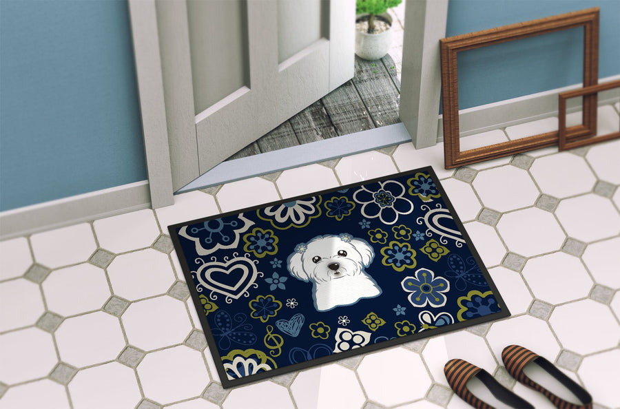 Buy this Blue Flowers Maltese Indoor or Outdoor Mat 24x36 BB5059JMAT