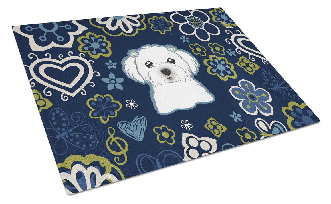 Buy this Blue Flowers Maltese Glass Cutting Board Large BB5059LCB