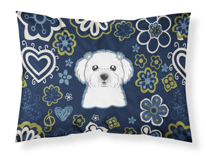 Buy this Blue Flowers Maltese Fabric Standard Pillowcase BB5059PILLOWCASE