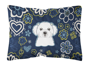 Buy this Blue Flowers Maltese Canvas Fabric Decorative Pillow BB5059PW1216