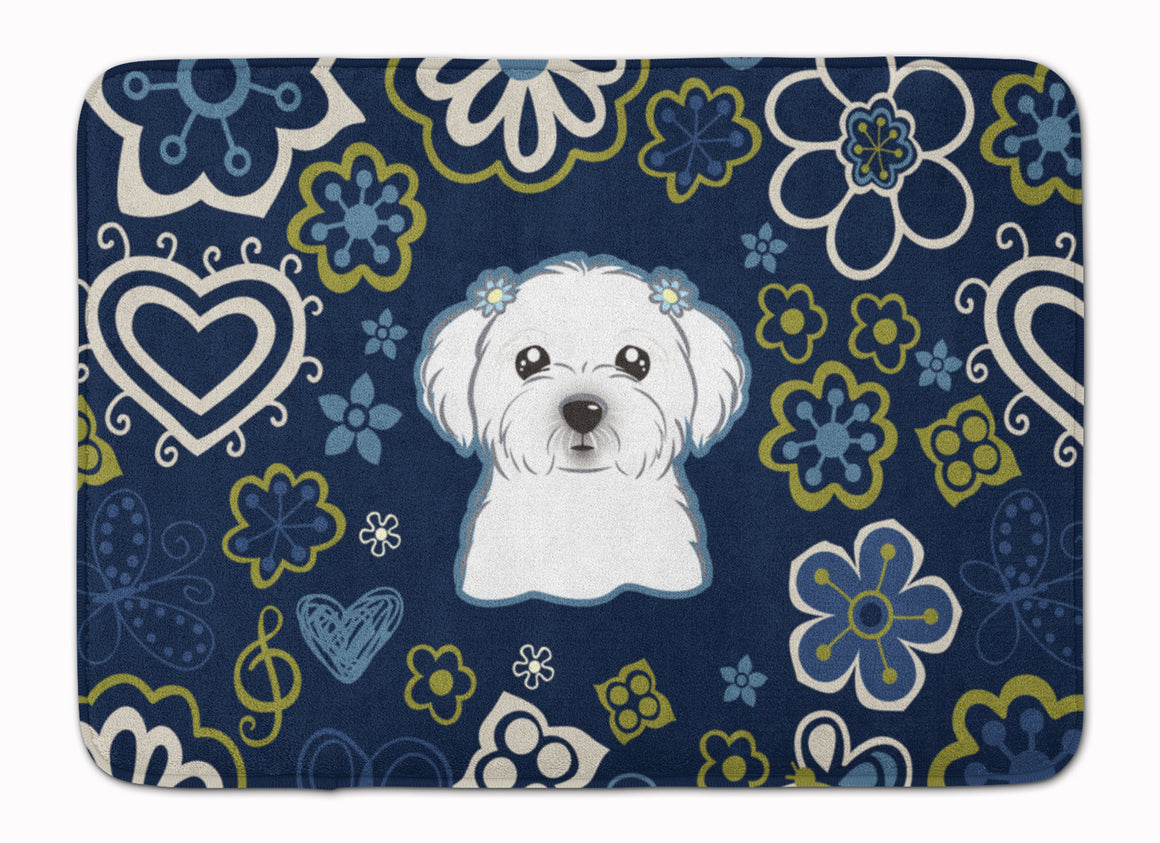 Buy this Blue Flowers Maltese Machine Washable Memory Foam Mat BB5059RUG