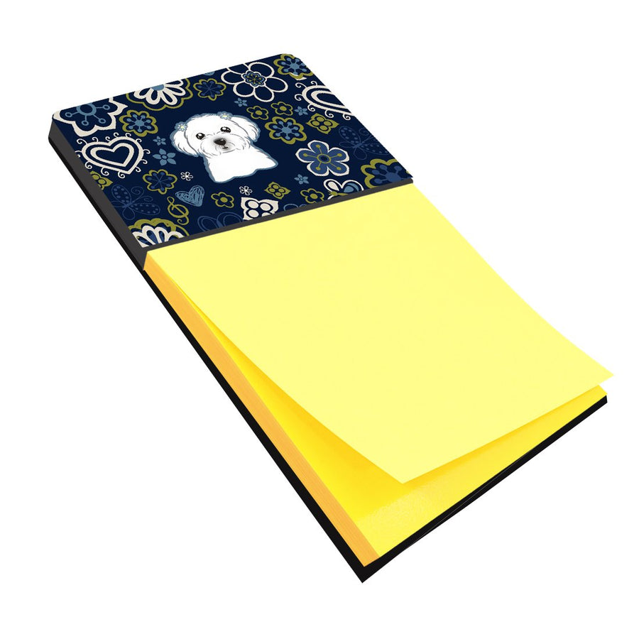 Buy this Blue Flowers Maltese Sticky Note Holder BB5059SN