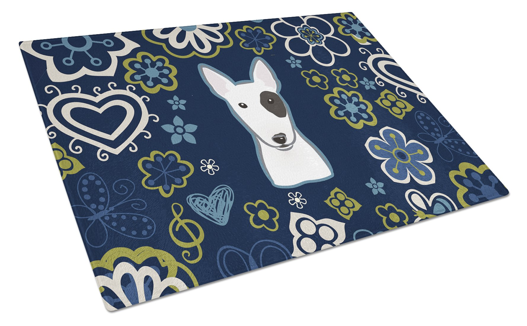 Buy this Blue Flowers Bull Terrier Glass Cutting Board Large BB5060LCB