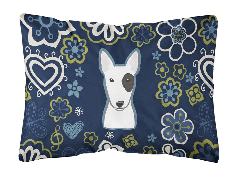 Buy this Blue Flowers Bull Terrier Canvas Fabric Decorative Pillow BB5060PW1216