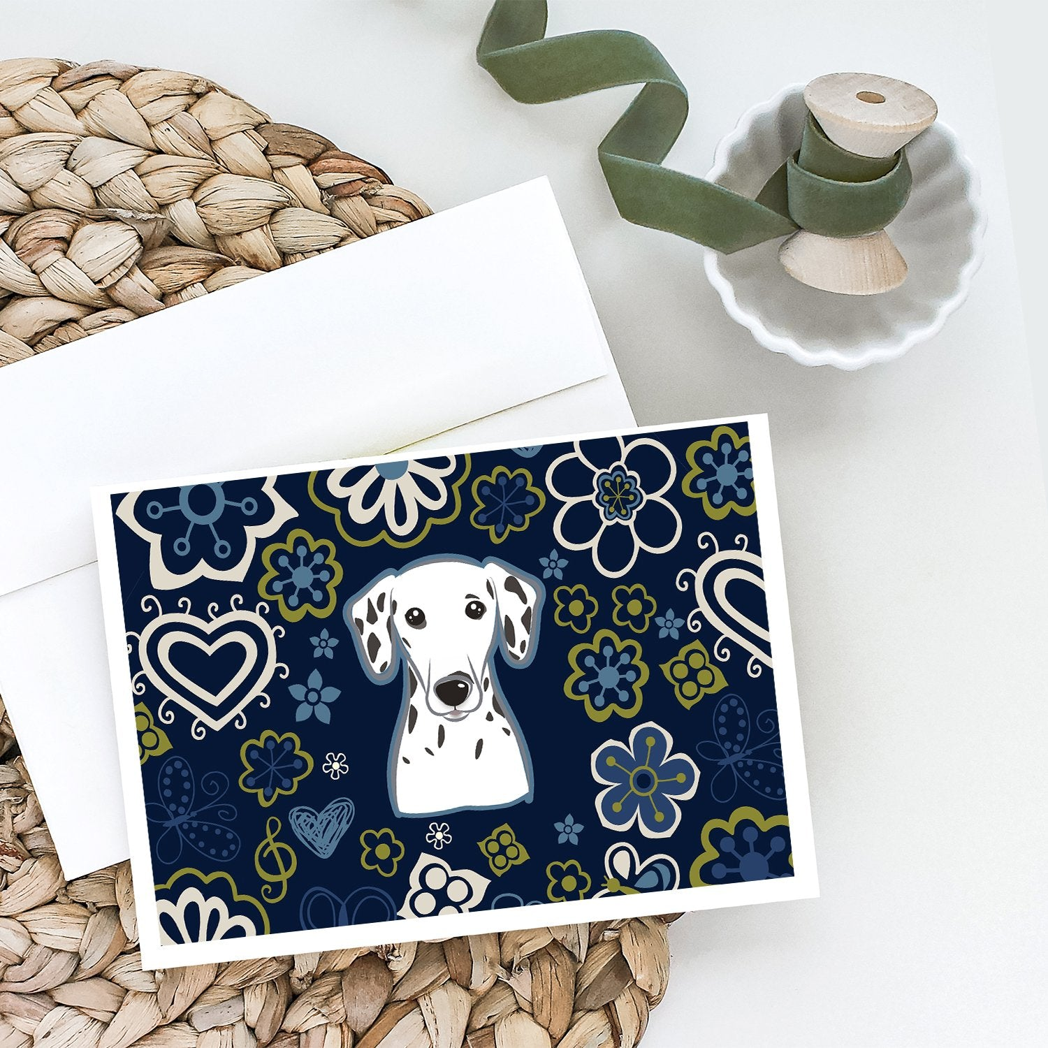 Buy this Blue Flowers Dalmatian Greeting Cards and Envelopes Pack of 8