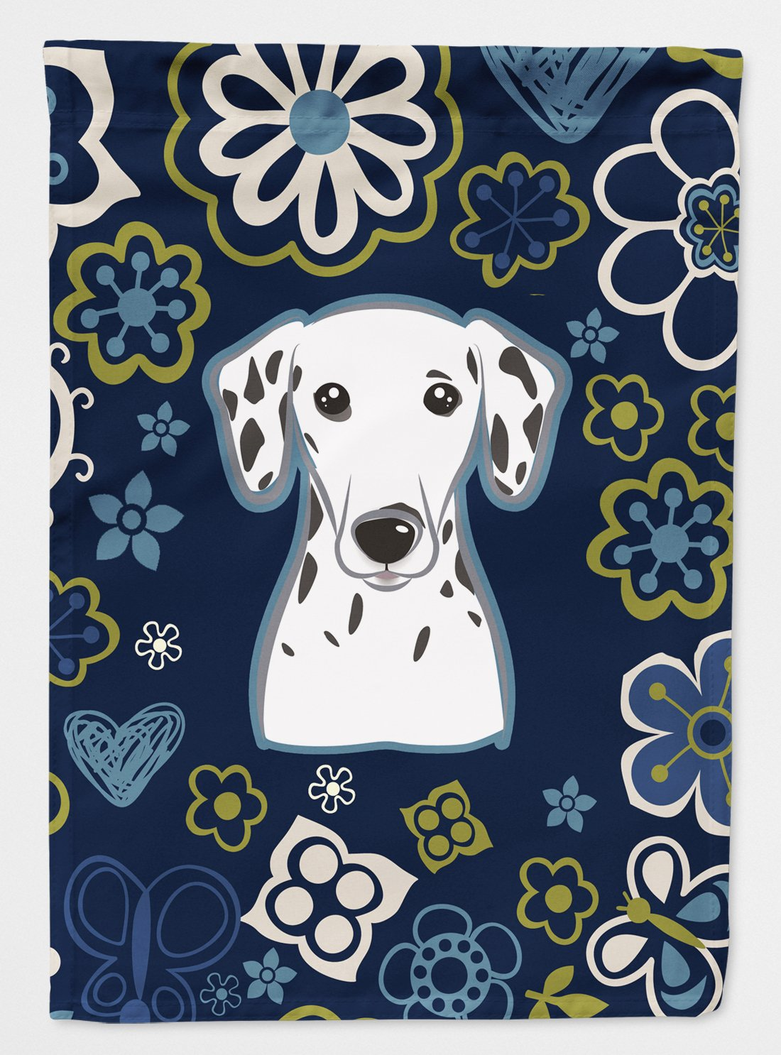 Buy this Blue Flowers Dalmatian Flag Garden Size