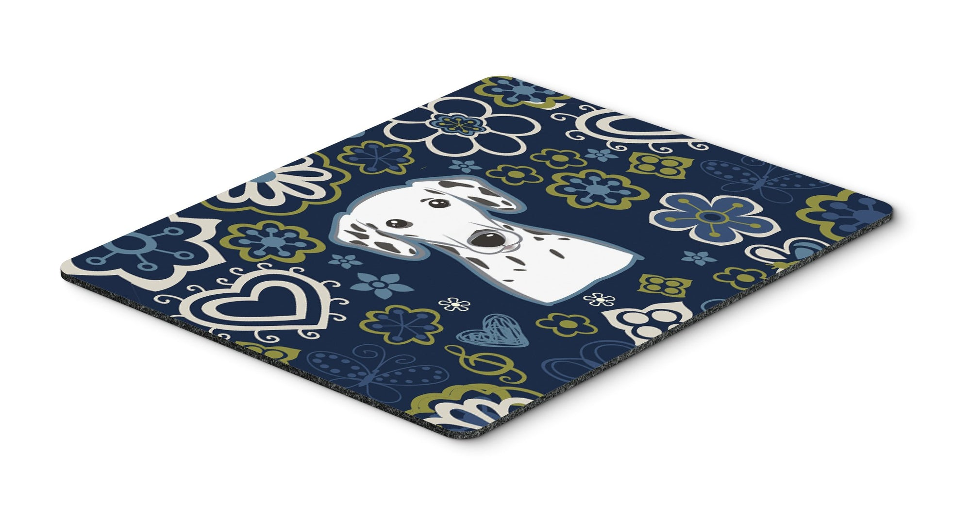 Blue Flowers Dalmatian Mouse Pad, Hot Pad or Trivet by Caroline's Treasures