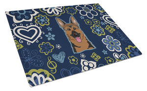 Buy this Blue Flowers German Shepherd Glass Cutting Board Large BB5062LCB