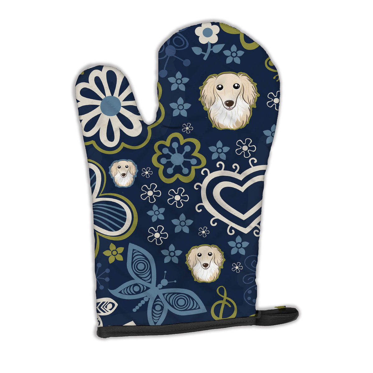 Buy this Blue Flowers Longhair Creme Dachshund Oven Mitt BB5063OVMT