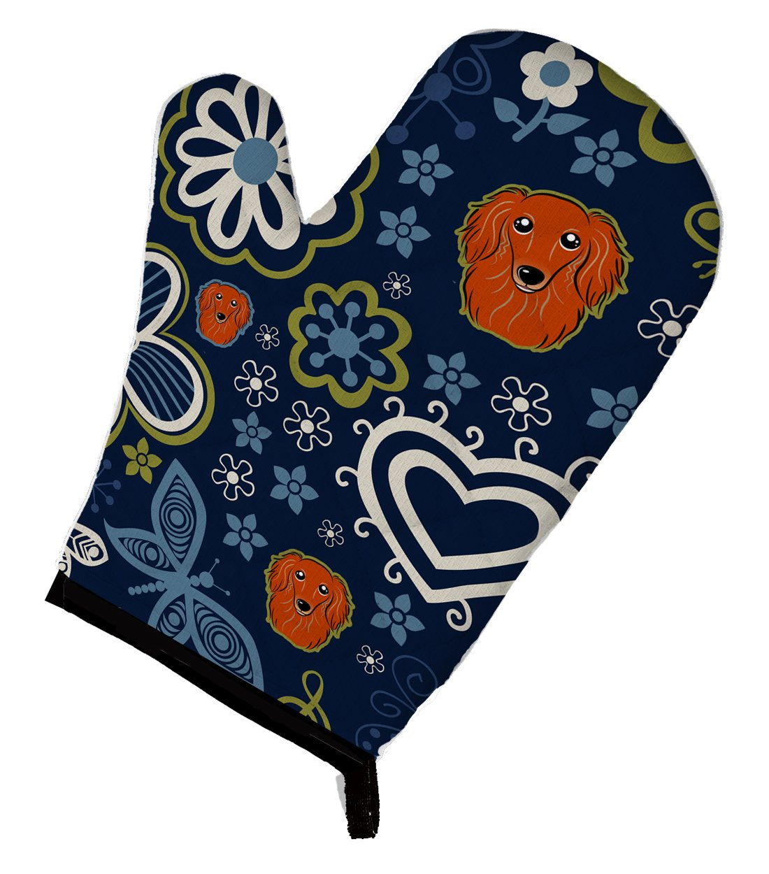 Buy this Blue Flowers Longhair Red Dachshund Oven Mitt BB5065OVMT