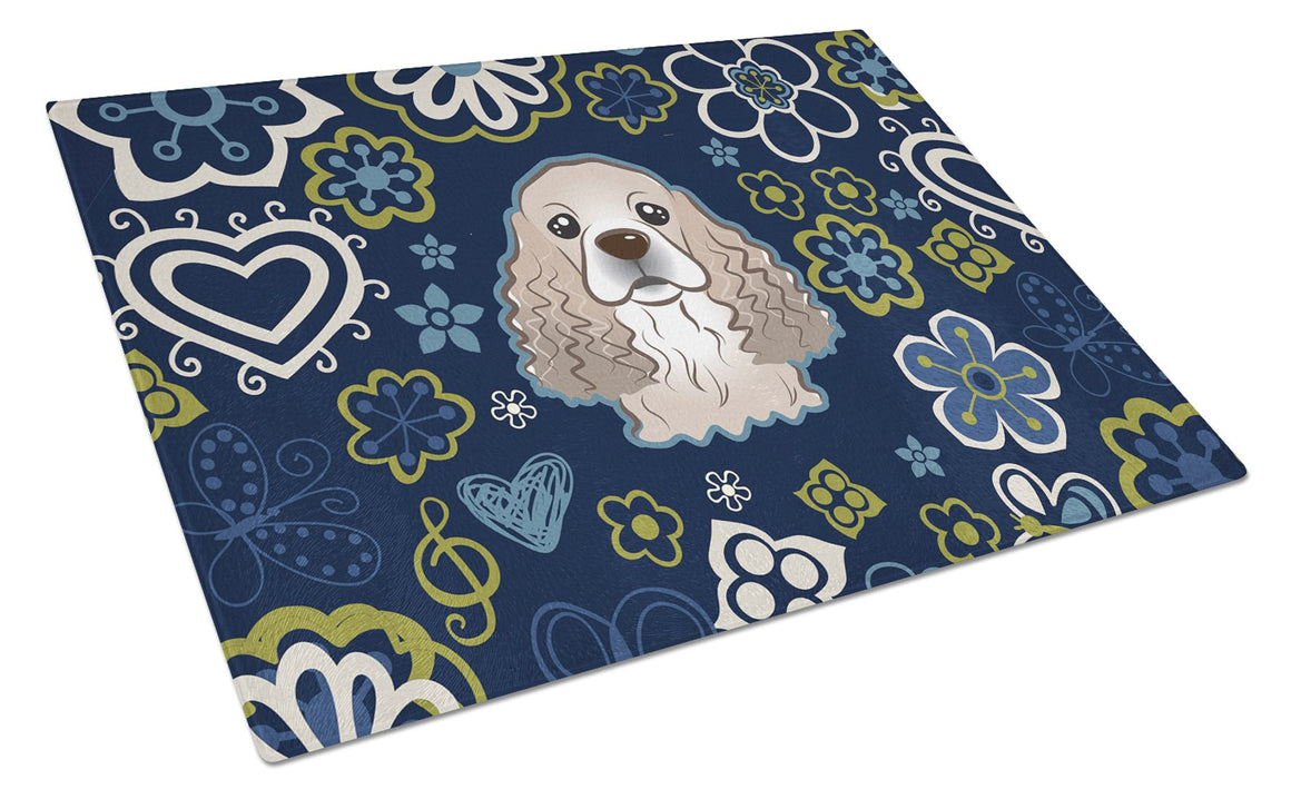 Buy this Blue Flowers Cocker Spaniel Glass Cutting Board Large BB5067LCB