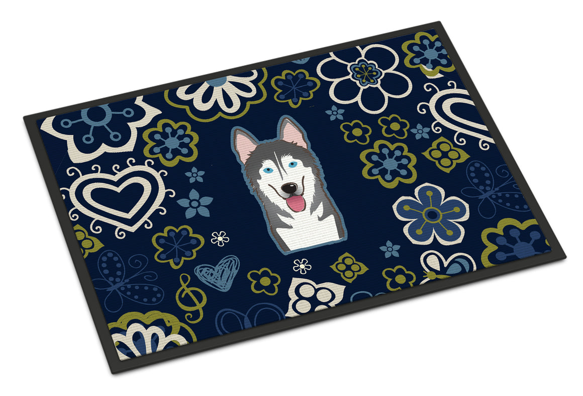 Buy this Blue Flowers Alaskan Malamute Indoor or Outdoor Mat 18x27 BB5069MAT