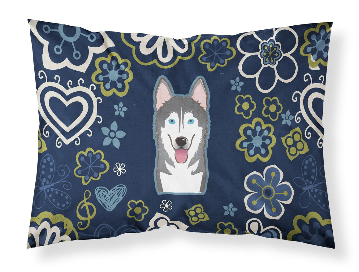 Buy this Blue Flowers Alaskan Malamute Fabric Standard Pillowcase BB5069PILLOWCASE