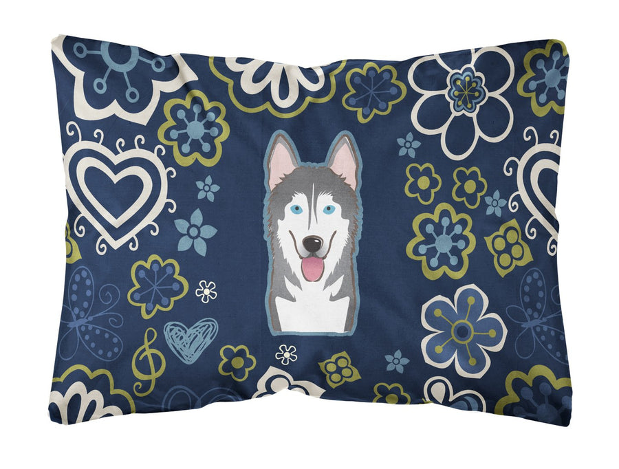 Buy this Blue Flowers Alaskan Malamute Canvas Fabric Decorative Pillow BB5069PW1216