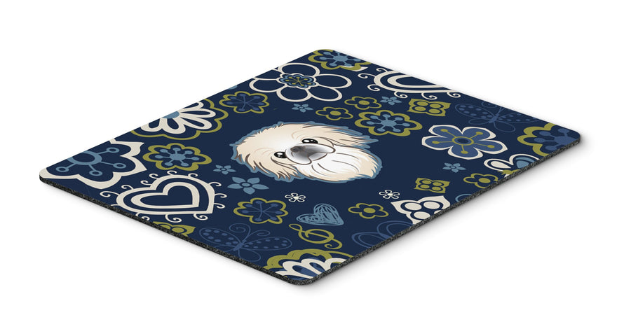 "Buy this ""Blue Flowers Pekingese Mouse Pad, Hot Pad or Trivet"""