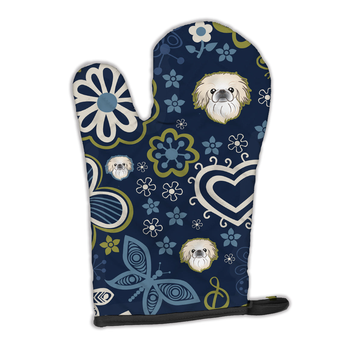 Buy this Blue Flowers Pekingese Oven Mitt BB5072OVMT