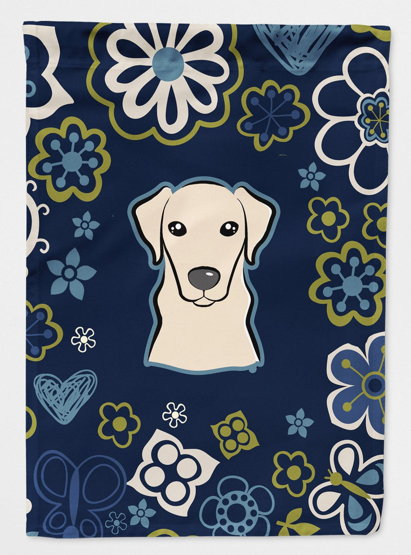 Buy this Blue Flowers Yellow Labrador Flag Garden Size