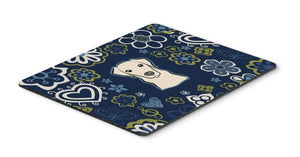 "Buy this ""Blue Flowers Yellow Labrador Mouse Pad, Hot Pad or Trivet"""