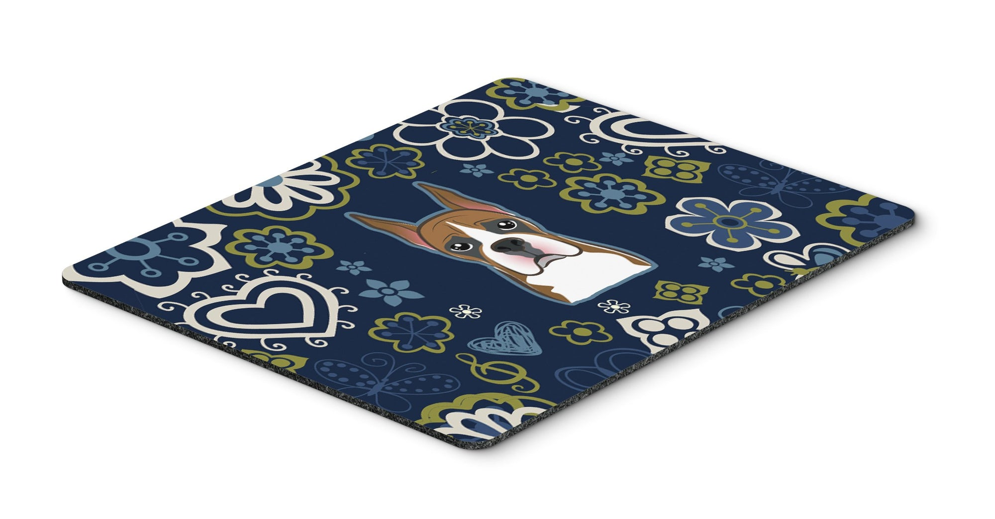 Blue Flowers Boxer Mouse Pad, Hot Pad or Trivet by Caroline's Treasures