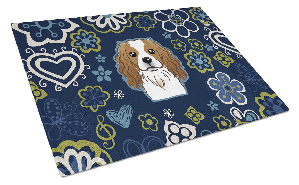 Buy this Blue Flowers Cavalier Spaniel Glass Cutting Board Large BB5075LCB