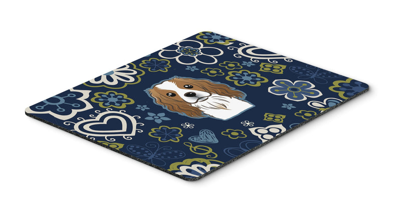 "Buy this ""Blue Flowers Cavalier Spaniel Mouse Pad, Hot Pad or Trivet"""