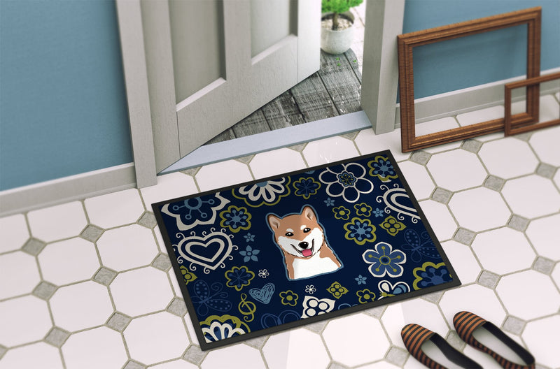 Buy this Blue Flowers Shiba Inu Indoor or Outdoor Mat 24x36 BB5076JMAT