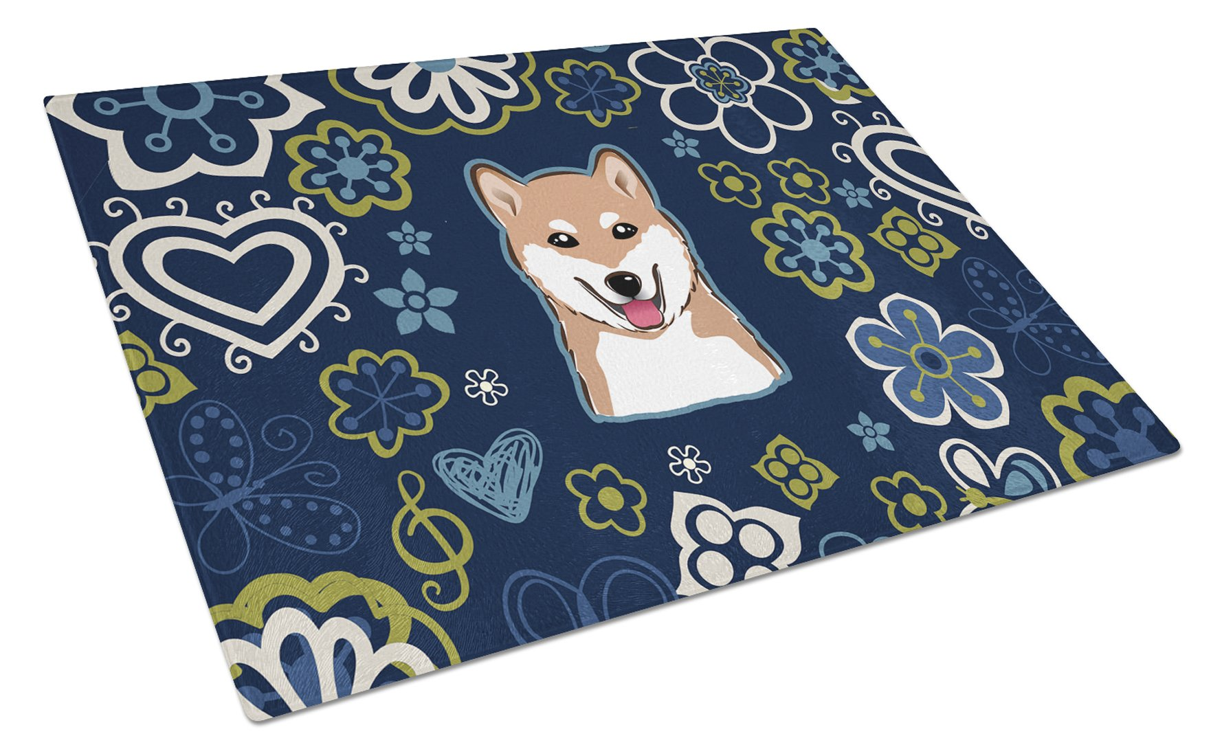 Buy this Blue Flowers Shiba Inu Glass Cutting Board Large BB5076LCB