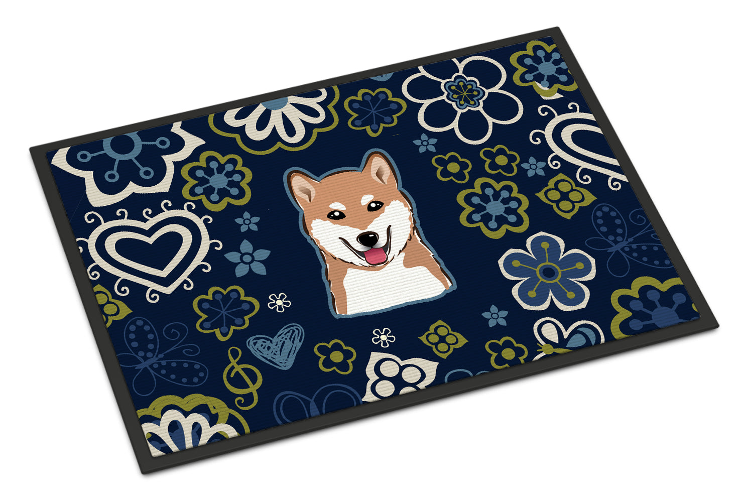 Buy this Blue Flowers Shiba Inu Indoor or Outdoor Mat 18x27 BB5076MAT
