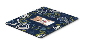"Buy this ""Blue Flowers Shiba Inu Mouse Pad, Hot Pad or Trivet BB5076MP"""