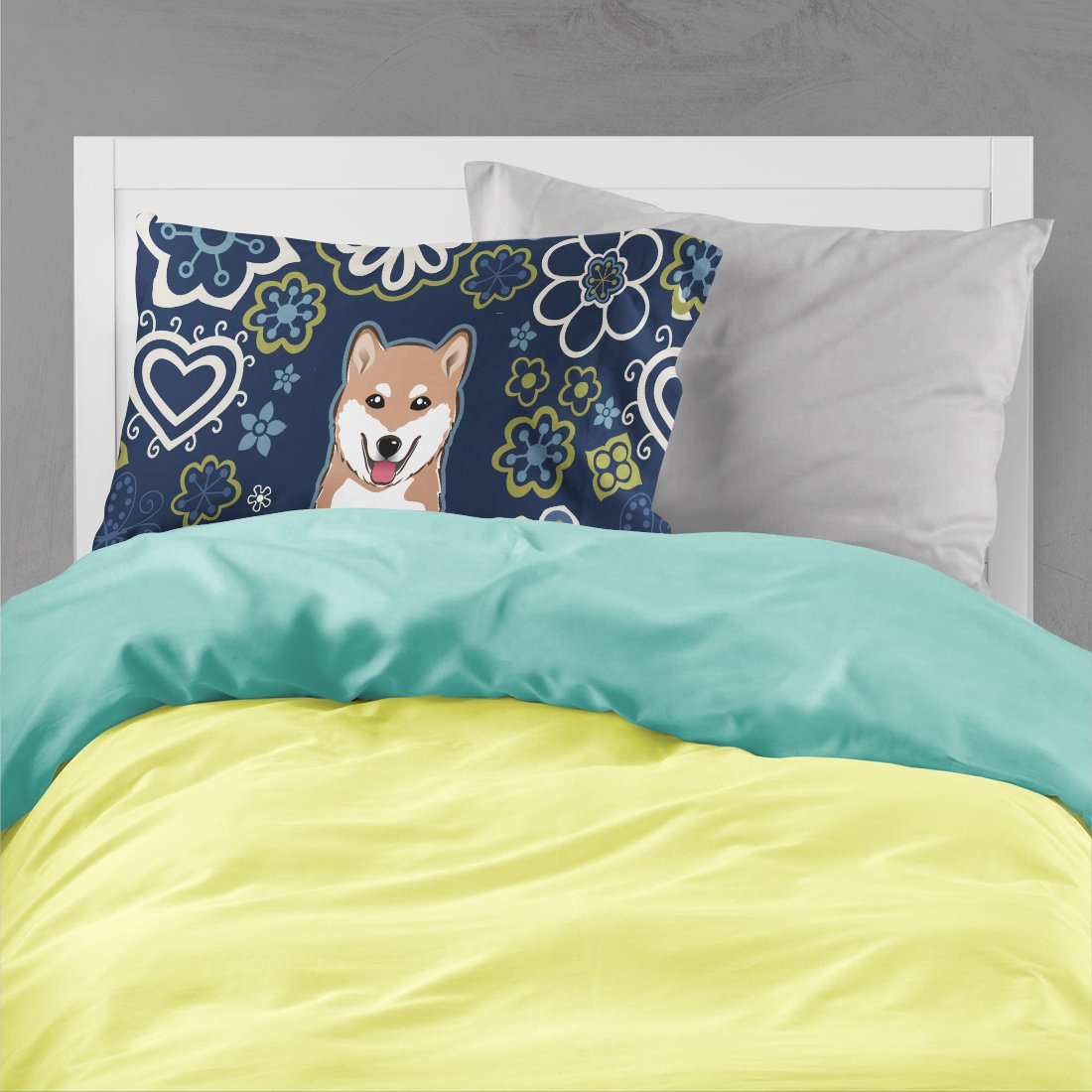Blue Flowers Shiba Inu Fabric Standard Pillowcase BB5076PILLOWCASE by Caroline's Treasures