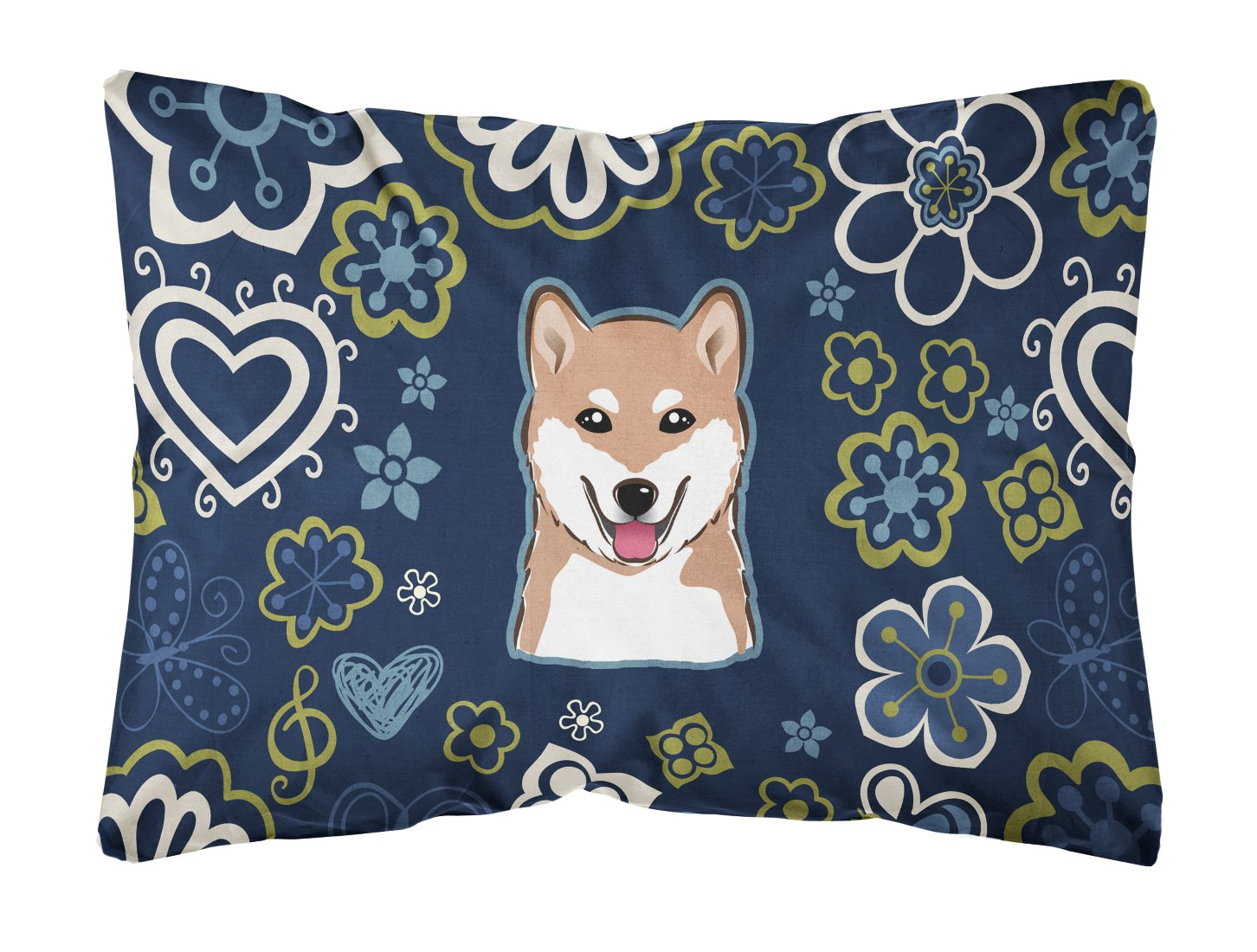 Blue Flowers Shiba Inu Canvas Fabric Decorative Pillow BB5076PW1216 by Caroline's Treasures