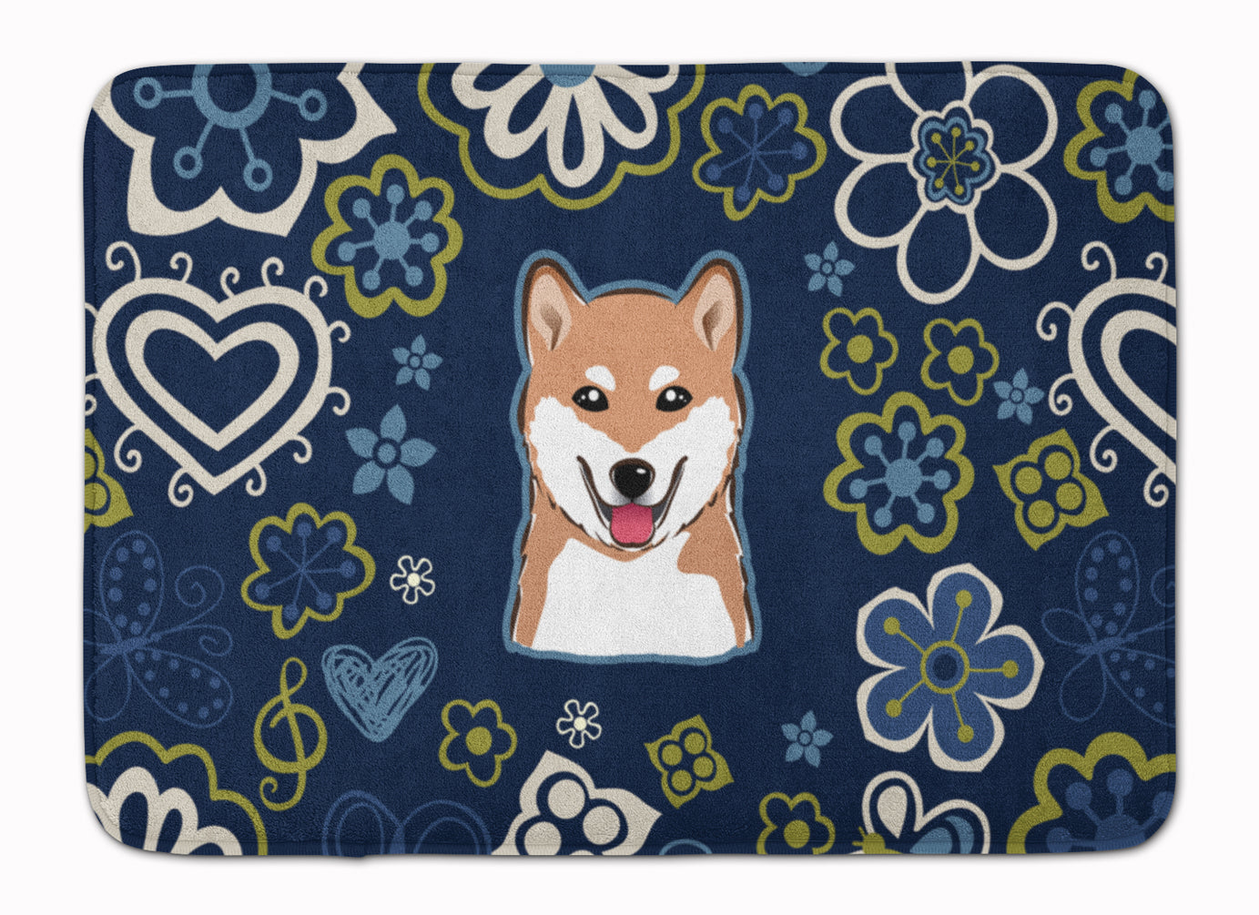 Buy this Blue Flowers Shiba Inu Machine Washable Memory Foam Mat BB5076RUG