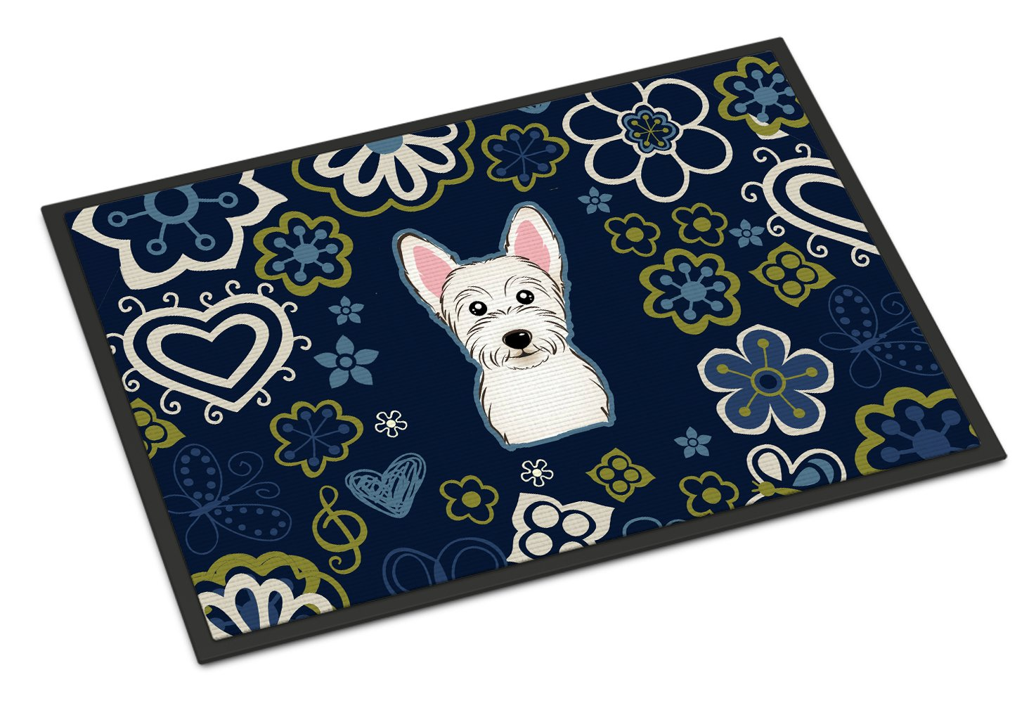 Buy this Blue Flowers Westie Indoor or Outdoor Mat 24x36 BB5077JMAT