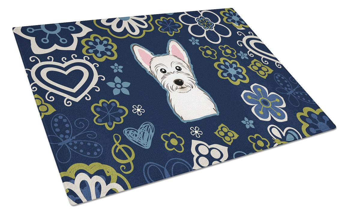 Buy this Blue Flowers Westie Glass Cutting Board Large BB5077LCB