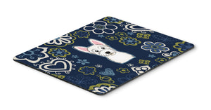 "Buy this ""Blue Flowers Westie Mouse Pad, Hot Pad or Trivet"""