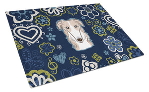 Buy this Blue Flowers Borzoi Glass Cutting Board Large BB5079LCB