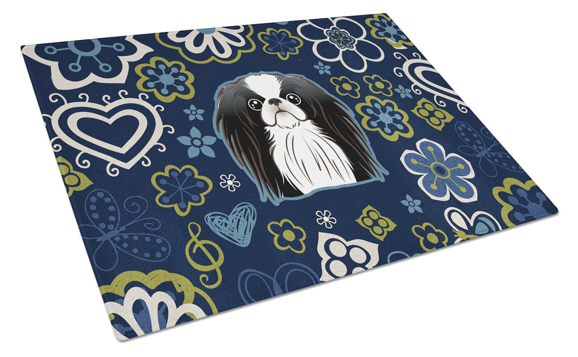 Buy this Blue Flowers Japanese Chin Glass Cutting Board Large BB5081LCB