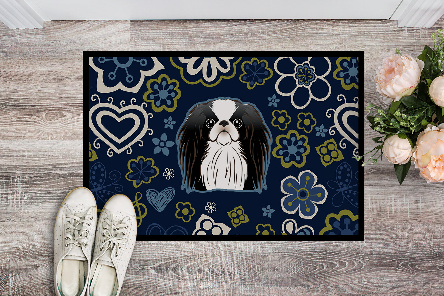Blue Flowers Japanese Chin Indoor or Outdoor Mat 18x27 BB5081MAT by Caroline's Treasures