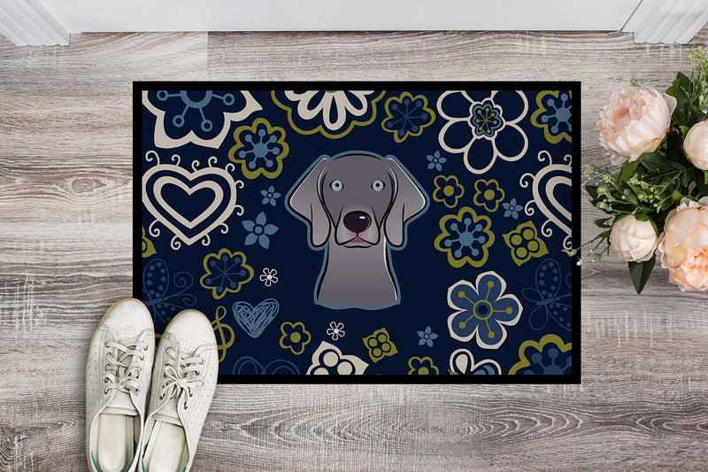 Buy this Blue Flowers Weimaraner Indoor or Outdoor Mat 18x27 BB5082MAT