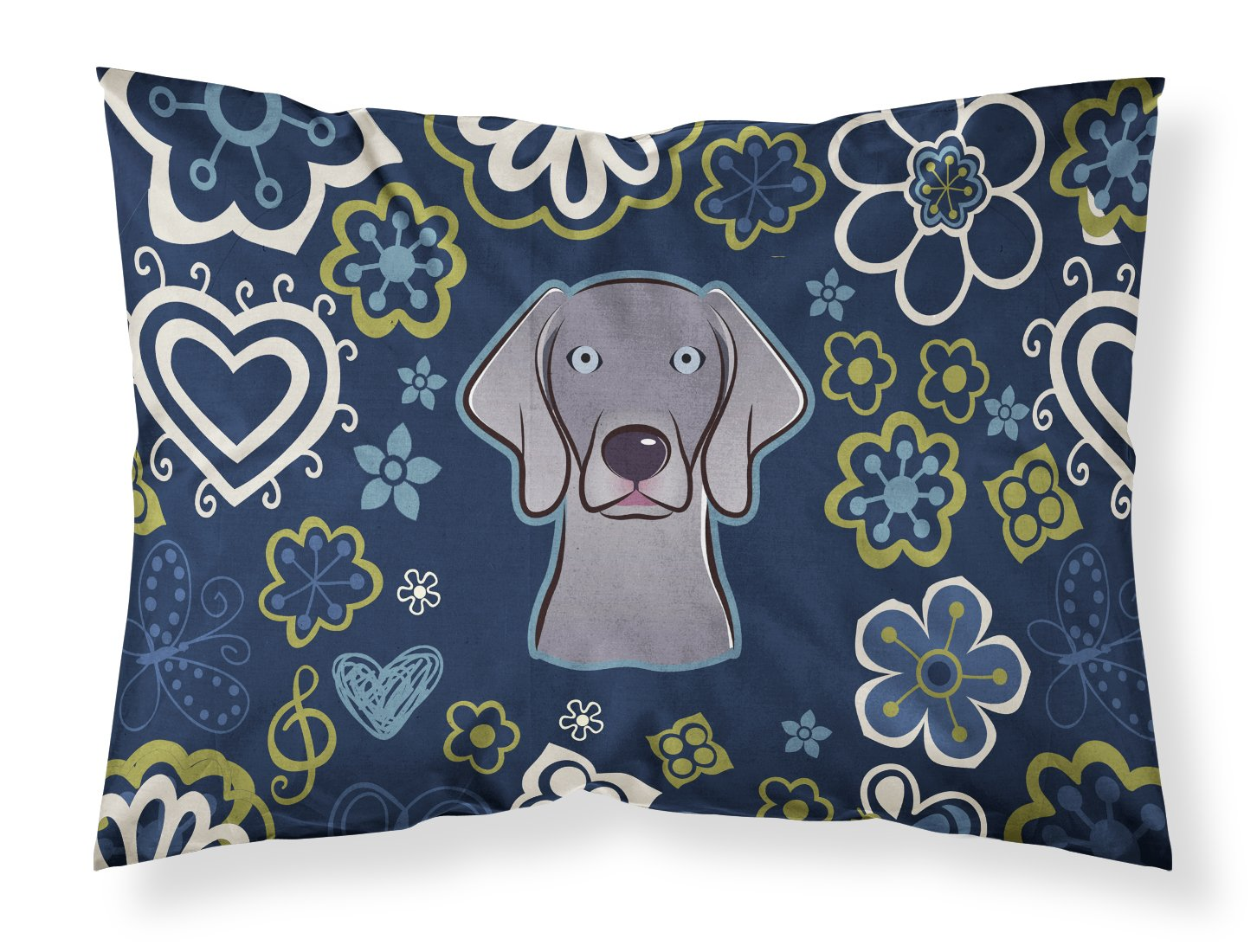 Buy this Blue Flowers Weimaraner Fabric Standard Pillowcase BB5082PILLOWCASE